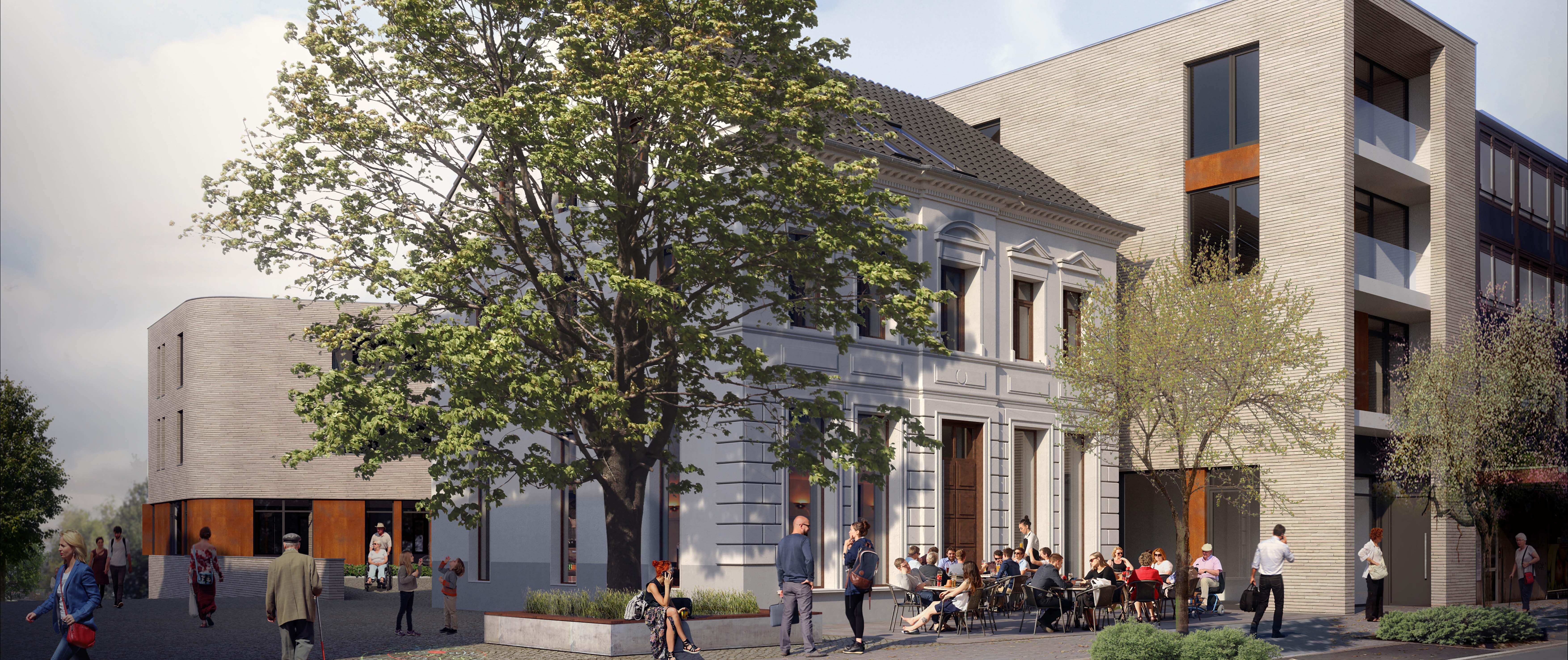 Altes Pastorat. Heiligenhaus, Neubau eines Bürogebäudes mit Hotel & Gastronomie